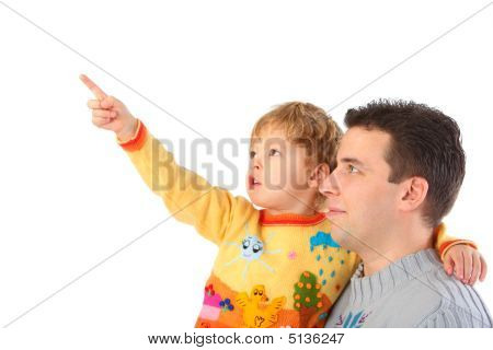 Child On Hands At Daddy Points Finger