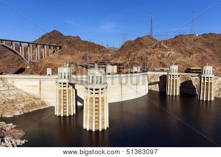 Hoover Dam, Four Towers In Boulder City, Nv On May 13, 2013