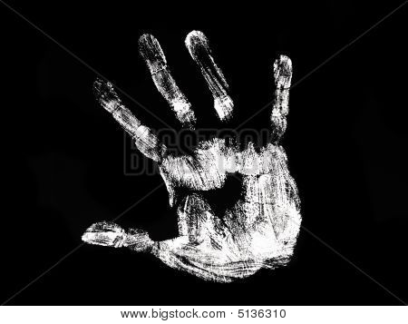 White Hand Print On The Black Background