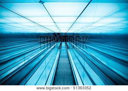 Moving Escalator In Modern Building