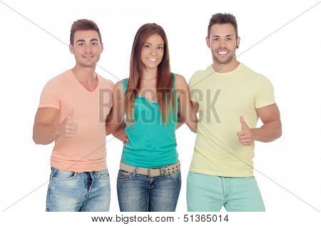 Two handsome boys with a beautiful girl saying Ok isolated on a white background