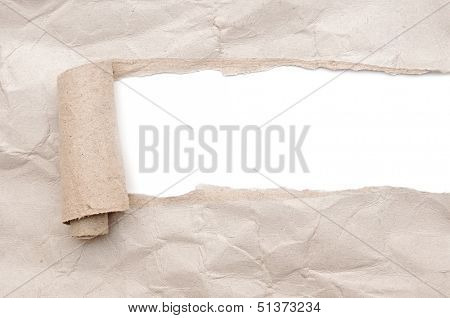 torn paper with opening showing white background