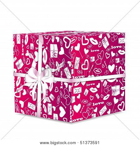 illustration of pink giftwrap with a white ribbon and bow