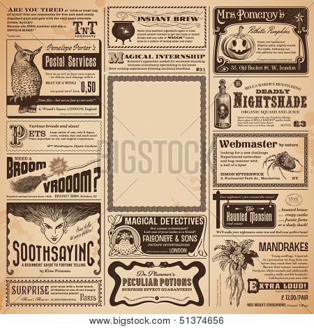 Halloween newspaper with classifieds and copyspace for your own text - perfect as a greeting card or party invitation