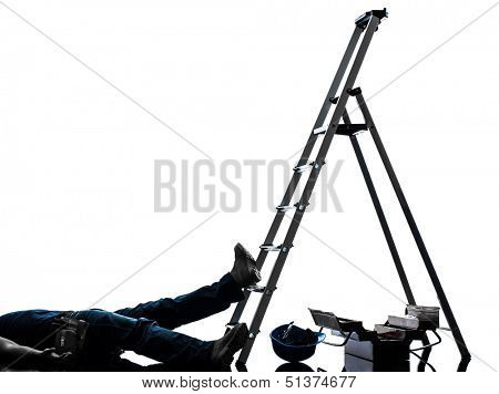 one  manual worker man accident falling from  ladder   in silhouette on white background