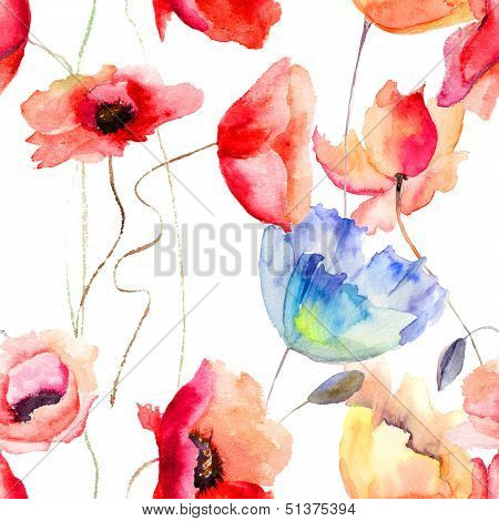 Seamless Pattern With Poppy Flowers