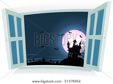 Halloween Landscape By The Window