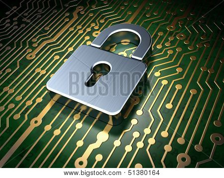 Protection concept: circuit board with Closed Padlock icon