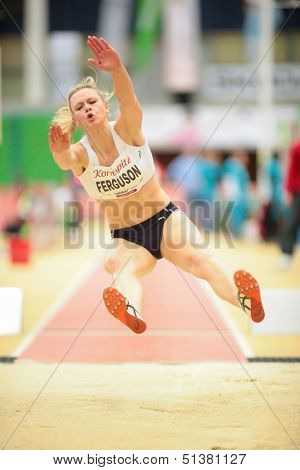 LINZ, AUSTRIA - JANUARY 31 Lisa Ferguson (#502 Scotland) places 5th in woemn's long jump event on January 31, 2013 in Linz, Austria.