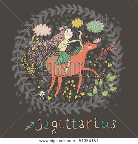 Cute zodiac sign - Sagittarius. Vector illustration. Little girl riding on pink horse and shooting arrows. Background with flowers and clouds. Doodle hand-drawn style in dark colors