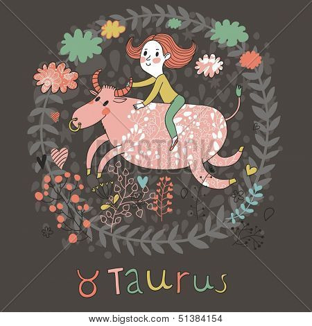 Cute zodiac sign - Taurus. Vector illustration. Little girl riding on the big pink calf with clouds and flowers. Doodle hand-drawn style in dark colors