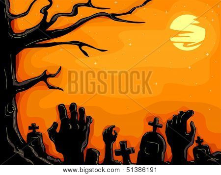 Halloween Illustration of Hands Protruding from the Ground in a Creepy Graveyard