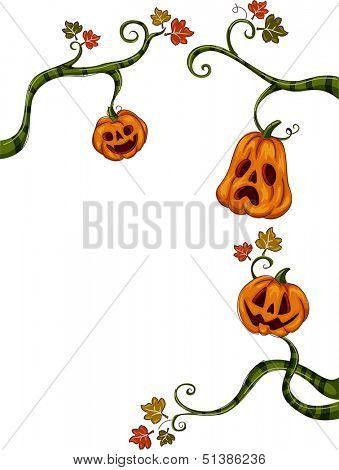 Halloween Illustration of Jack-o'-Lanterns Hanging from Vines