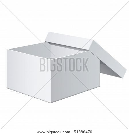 Cool Realistic White blank Package Box Opened. For electronic device and other products. Vector illu