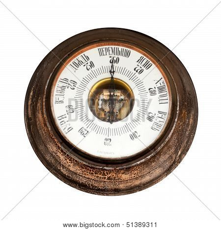 Big Outdoor Vintage Barometer With Labels In Russian - Storm, Big Rain, Rain, Variable, Clear, Good