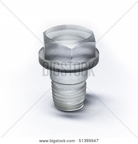 Unusual Bolt Made Of Transparent Plastic
