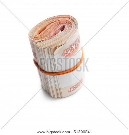 Roll Of Russian Money With Rubber Band. Modern Five Thousandth Roubles Notes Isolated On White