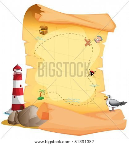 Illustration of a treasure map near the lighthouse on a white background