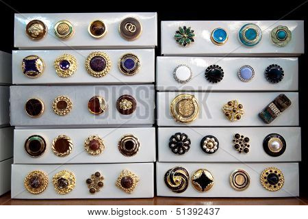 Boxes of vintage buttons