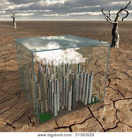 Tiny city in plastic box in desert landscape