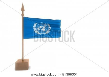united nations waving flag isolated on white