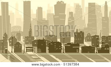 Abstract Illustration Of Big City With Shadows.