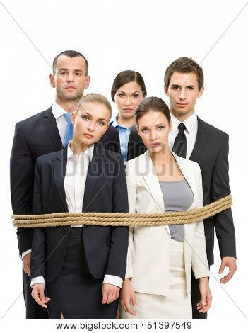 Group of managers tied with rope, isolated on white. Concept of routine work and slavery
