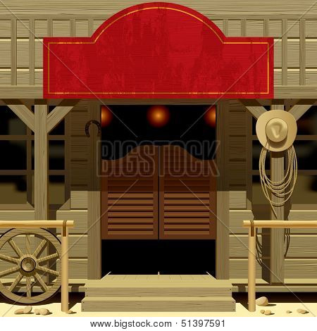 Raster version of vector image of the door of the Saloon in Wild West with a red signboard