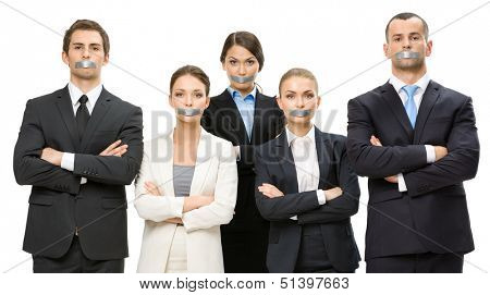 Group of business people with taped mouths and their hands crossed, isolated on white. Concept of slavery and routine work