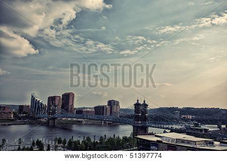 Roebling bridge, sunny day