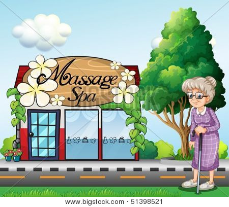 Illustration of an old woman outside the massage spa parlor