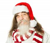 Christmas Old Man With Beard In Red Hat, Santa Claus