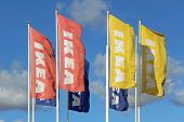 Group Of Ikea Flags Against Sky