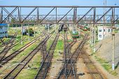 stock photo of railcar  - Railway station is photographed from above  - JPG