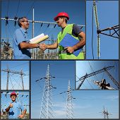 stock photo of substation  - Collage of photographs showing electric company workers at the power substation with power distribution equipment - JPG