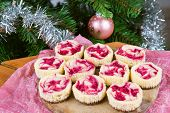Dessert For Christmas. Mini Raspberry Cheesecakes In Muffin Forms