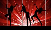 image of pole dancing  - Silhouettes of sexy pole dancers on starburst background - JPG