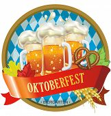 stock photo of pretzels  - Beautiful Oktoberfest label with beer and pretzel - JPG