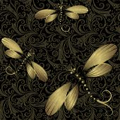 image of dragonflies  - Seamless dark vintage pattern with translucent gold dragonflies  - JPG