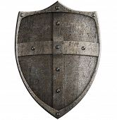 medieval crusader's metal shield isolated with clipping path included