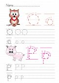 pic of letter p  - Practise alphabet handwriting letters O P on white paperworksheet - JPG
