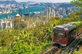 picture of tram  - View of The Peak Tram Hong Kong - JPG