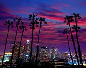 picture of highrises  - Downtown LA night Los Angeles sunset colorful skyline California - JPG