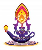 stock photo of kolam  - Indian style oli lamp and pattern design - JPG