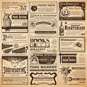 stock photo of sorcerer  - magical newspaper page with classifieds  - JPG
