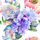 stock photo of hydrangea  - Watercolor illustration of Beautiful Hydrangea blue flowers seamless pattern - JPG
