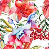 foto of lily  - Seamless pattern with Beautiful Lily flowers watercolor illustration - JPG