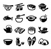 picture of squid  - vector black japan food icon set on white - JPG