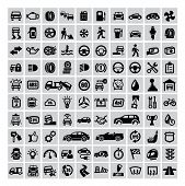 pic of garage  - vector black auto icons set on gray - JPG