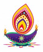 foto of kolam  - Indian style new year oil lamp pattern design - JPG